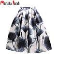 Midi Falda 2016 Mujeres Del Verano de la Alta Cintura Plisado Tutú Faldas Patinador Rodilla Ocasionales de la Vendimia Saia Falda Grande Oscilación Impreso