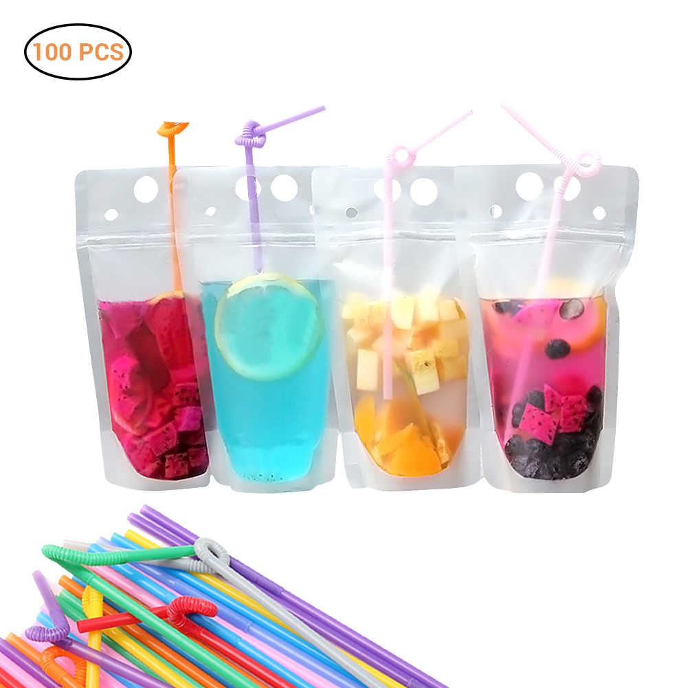 100pcs Zipper Stand-up Plastic Drinking Bag with Straws Spout Pouch for Beverage Liquid Juice Milk Coffee