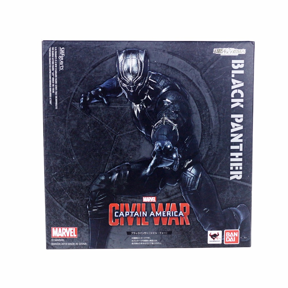 SHFiguarts Black Panther Civil War Captain America Action Figure 16cm/6.3 DC013023 Free Shipping drop shipping captain america figure 3d
