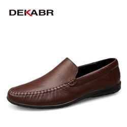 Dekabr novo couro genuíno sapatos masculinos apartamentos, design estilo sapatos masculinos moda mocassins macios sapatos casuais tamanho grande 37 37 47