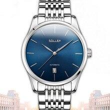 Tourbillon Reloj Automático de Los Hombres Ultra-delgado Con Caja de Acero Inoxidable Uhren Hombres De Negocios Reloj De Los Hombres de Lujo Montres