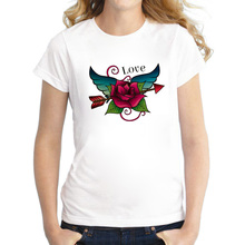 The Summer 3D Love Red Flower Printed Beautiful T Shirt for Woman Wing and Flower Arrow Design Comfortable Casual Top Tee Shirts