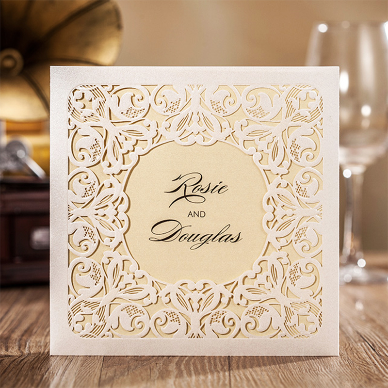 Square Design White Laser Cut Invitations Kit Blanl Paper Printing Wedding invitation Card Set Send Envelope Casamento Convite design laser cut lace flower bird gold wedding invitations kit paper blank convite casamento printing invitation card invite