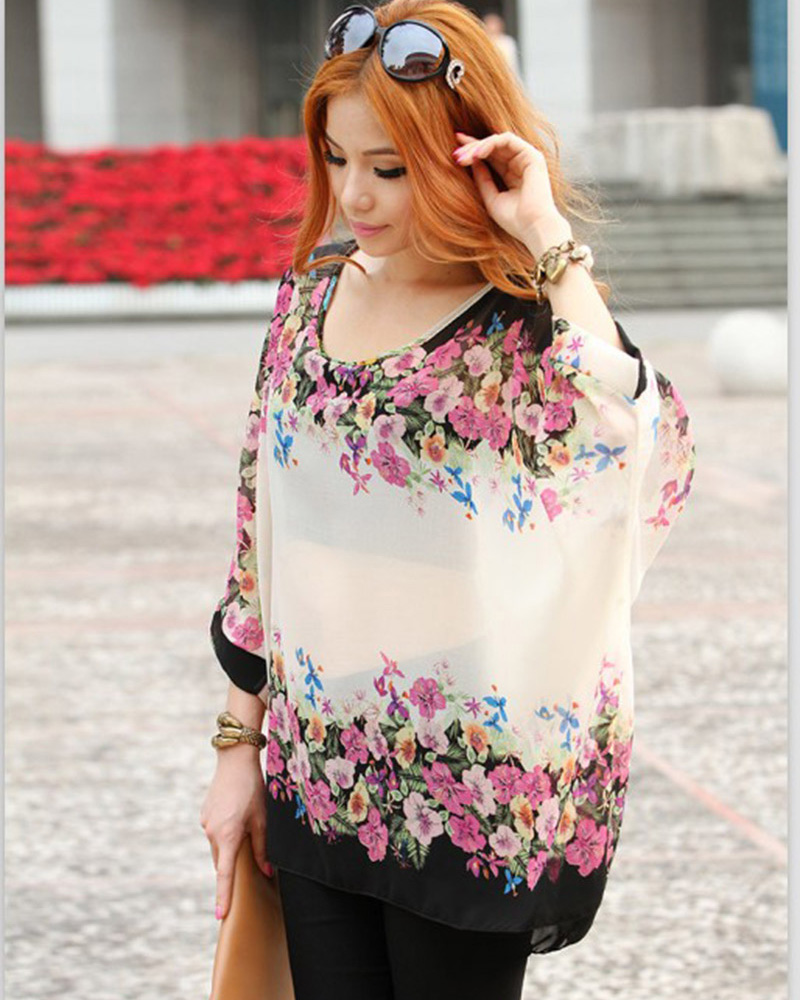 b4adae2a75a Low price sale women plus size blouses flower printed summer blusas Vogue  ladies designer sheer shirts girls tops free shipping-in Blouses   Shirts  from ...