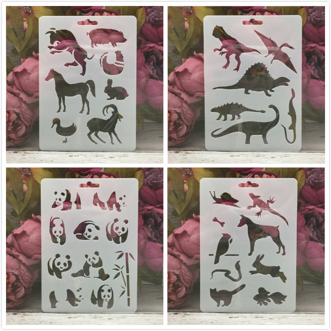 4Pcs/Set 17.8*12.7cm Panda Dinosaur Animals DIY Layering Stencils Painting Scrapbook Coloring Embossing Album Decor Template