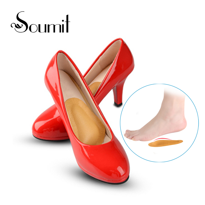 Soumi High Heeled Shoes Arch Support Forefoot Cushion Front Feet Pads for Women Orthotic Flatfoot Massage Half Yard Pads Insoles 2017 gel 3d support flat feet for women men orthotic insole foot pain arch pad high support premium orthotic gel arch insoles