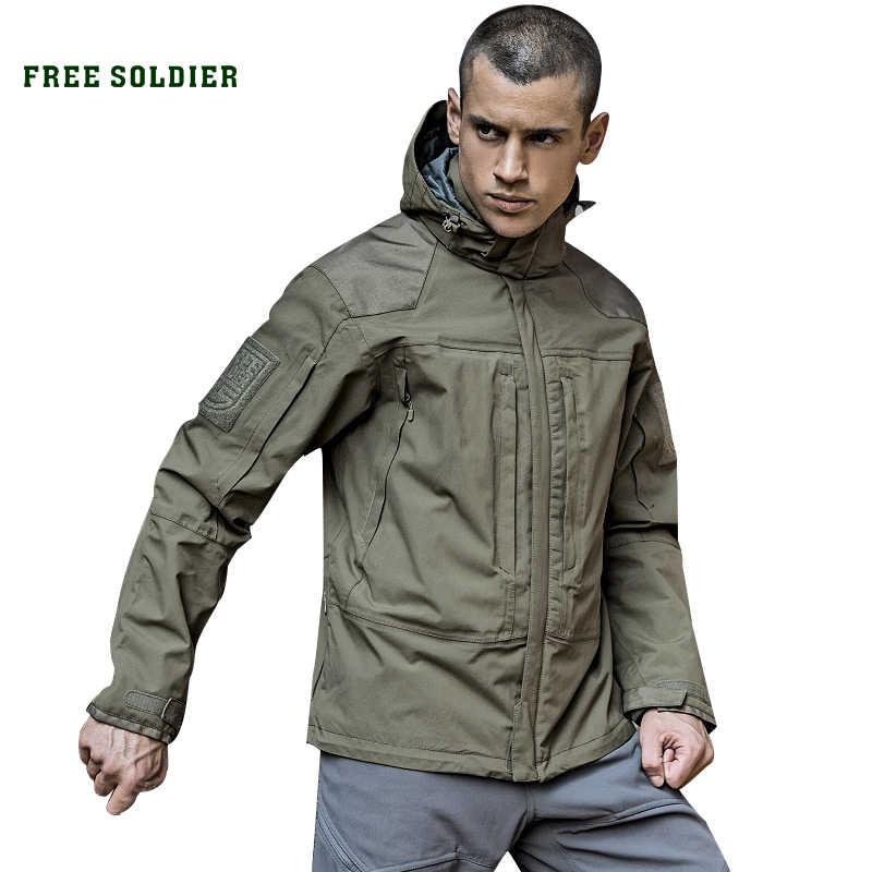 Soldado livre esportes ao ar livre tático militar revestimento de forro quente masculino, resistente ao desgaste, repelente de água para acampar, caminhadas casaco