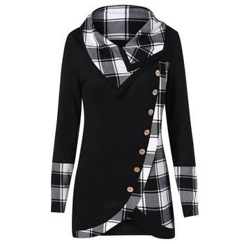 Tops y blusas para mujer, Blusa de manga larga a cuadros con botones Vintage, ropa de calle para mujer 2019, Tops de moda para mujer