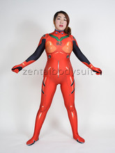 3D Print Red Lycra Anime Asuka Langley Soryu Body Suit Cosplay Halloween Costume