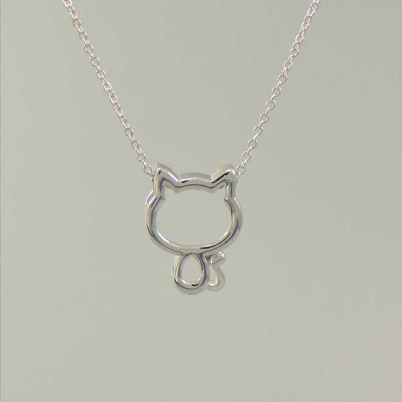 XIYANIKE S925 เงินสเตอร์ลิงสร้อยคอแมวน่ารักหวาน Clavicle ง่าย Hollow จี้แฟชั่นสำหรับคนรักที่ดีที่สุดของขวัญ VNS8435