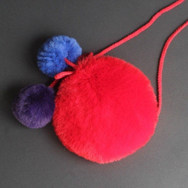 Искусственный мех, плюш круглые шарики детей школьные сумки детей дорожная сумка Crossbody небольшие деньги Чехлы для детского сада для маленьк...
