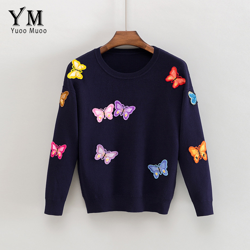 YuooMuoo New High Quality Sweater Women Luxury Butterfly Pullover European Style Autumn Winter Knitted Sweater Warm Casual Tops
