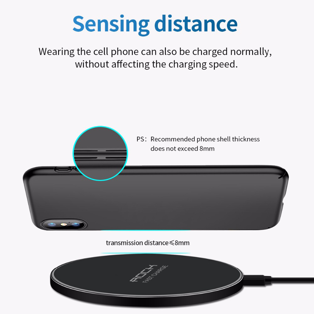 LED Breathing Light 10W Wireless Charger , ROCK Qi Fast Wireless Charging Pad For iPhone X XS 8 Samsung Huawei P30 Xiaomi