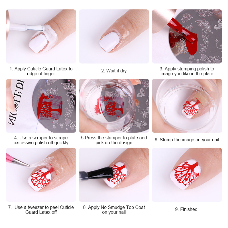 Image 2 - NICOLE DIARY 3pcs/set Nail Stamping Plate Stamper Scraper Geometric Coconut Flower Images Stamp Template Manicure Art Stencil-in Nail Art Templates from Beauty & Health