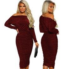 2019 Womens Metallic Glitter Off Shoulder Formal Dress Sexy High Waist Bodycon Dresses Long Sleeve Shiny Party Vestido 351