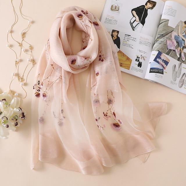 b70b4af39e7f2 2018 new silk wool scarf women elegant embroidery floral shawl wrap lady  travel pashmina high quality