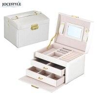 High Grade 17 5 14 13cm PU Leather Tri Layer Dual Drawer Jewelry Box Organizer Necklace