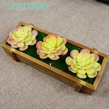 INDIGO (3 Plants+1Tray /set ) Bonsai Yellow Lotus Artificial Succulent Plant Plastic Flower Table DecorationFree Shipping