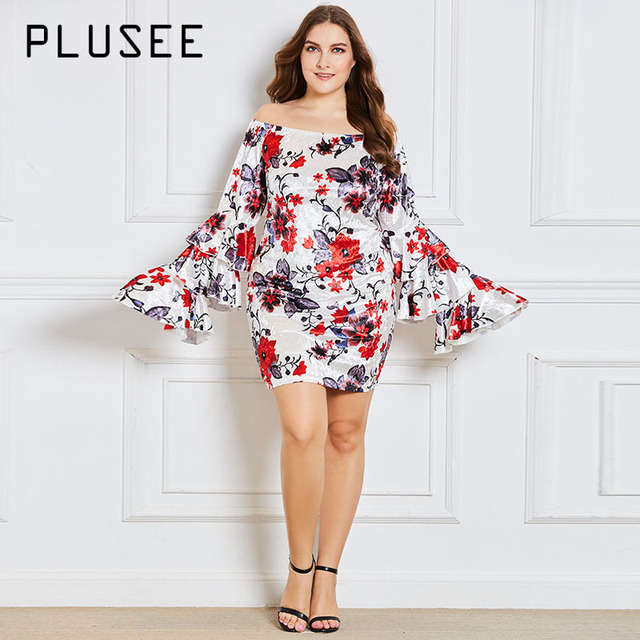 Plusee Dress Plus Size 4XL 5XL Women Bodycon Flare Sleeve Slash Neck ...
