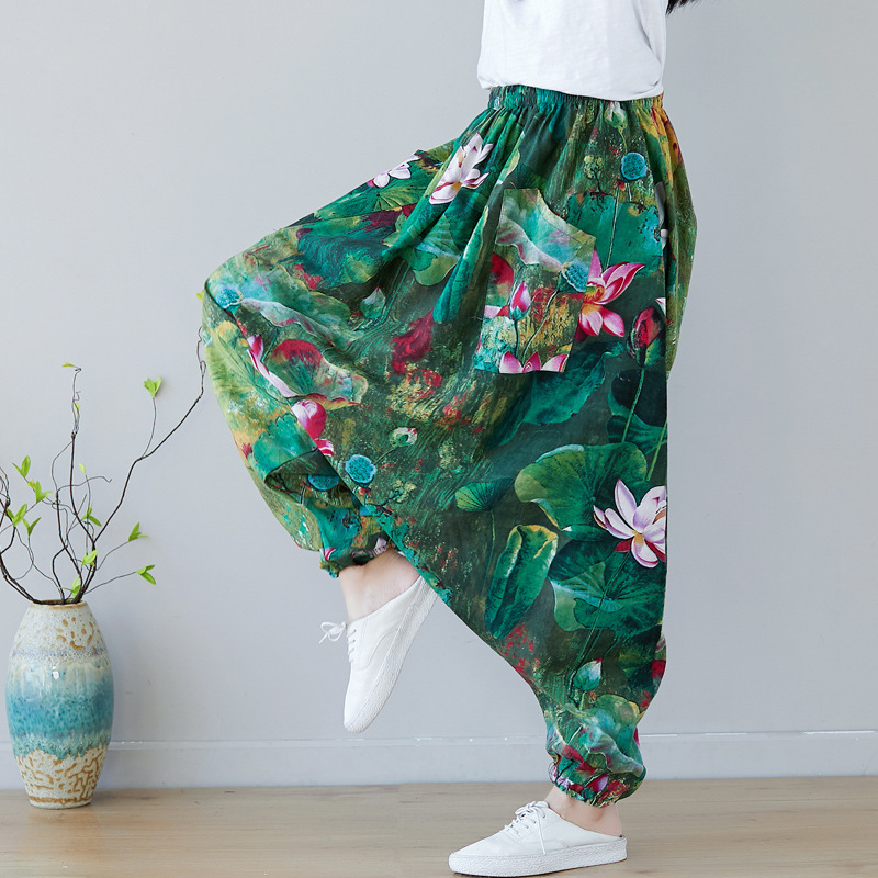 Extra Loose Floral Fluid Drop Crotch pants Travel Low Drop Crotch Bloomers big size lantern Trousers Indian Nepal Baggy Pants