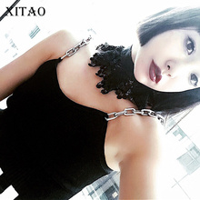 [XITAO] Women's new arrival sexy style short length solid color metal straps knitted tanks & camis QRB-022