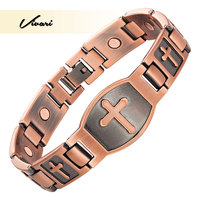 Vivari 2017 Trendy Men Cross Pattern Antique Copper Magnetic Bracelet Christian Fashion Bangle Jewelry Jesus Christ