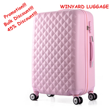 Venta al por mayor! 20inches abs + pc hardside viajes luaggage bolsas en ruedas universales, hembra rosa verde azul amarillo púrpura carretilla equipaje