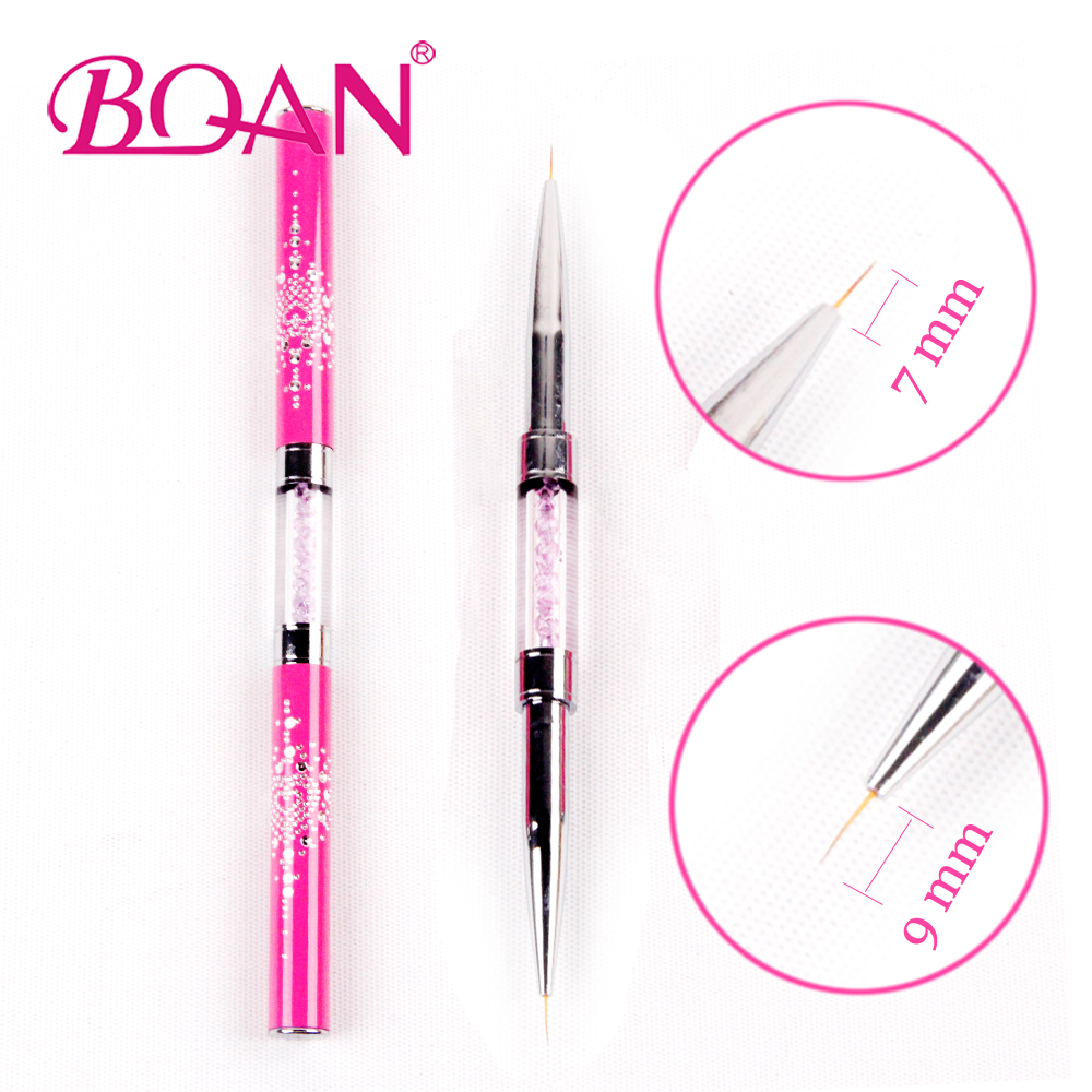 BQAN Double Head Nail Liner Brush 7mm 9mm Acrylic Nail Art Brushes Drawing Line Crystal Handle Nail Art Manicure Brush 2018