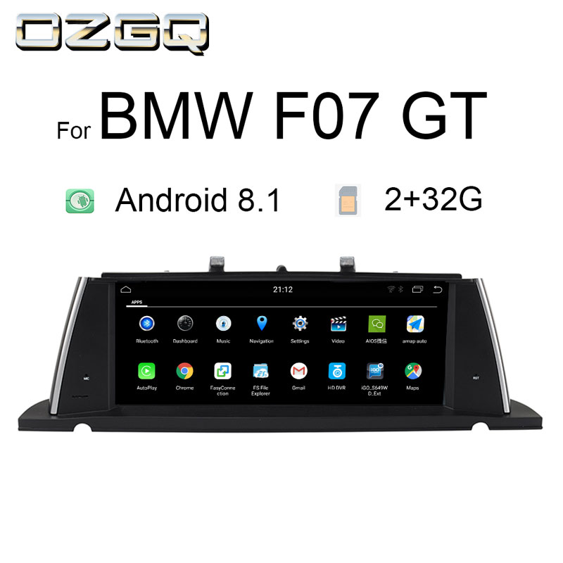 OZGQ Android 8,1 система ips экран автомобиля gps навигация Мультимедийная Главная панель плеер для BMW 2011 2017 5 серии F07 GT с Wi Fi