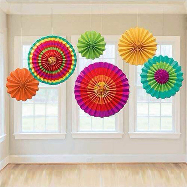 Colorful Tissue Paper Fans Party Wedding Birthday Hanging Fiesta Fan Decorations Art Craft 2016 New Sale