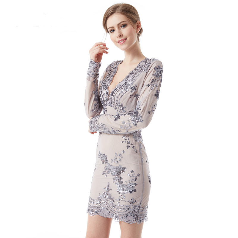 Silver Long Sleeve Sequin Dress Promotion-Shop for Promotional ...