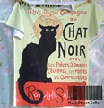 Pista do Navio + Hot Summer Retro Vintage Cool T-shirt Rock & Roll Punk Top Tee Prochainement Black Cat Chat Noir brilhar 0142