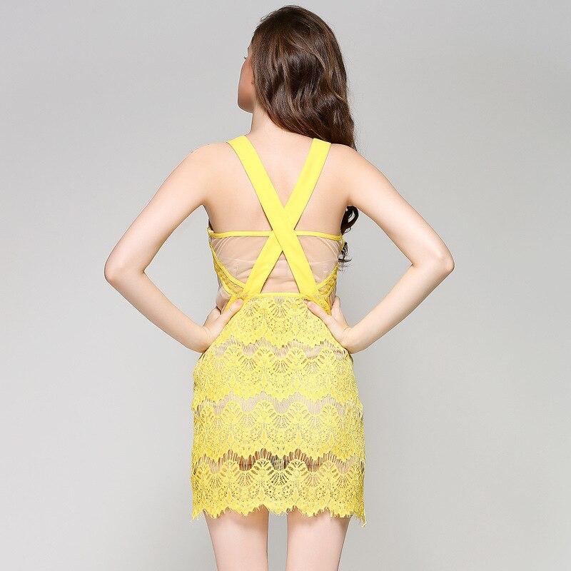 Sexy Giallo Il Elegante Backless New Per Di Con Estate Del Abbigliamento Scava Nero Merletto A Ciglio Donne colore Vestito Modo Scollo Le Fuori 2018 Casual Mini V xZTnvx