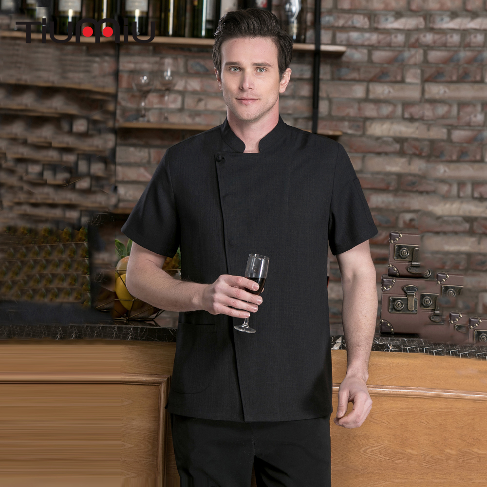 Linen Short Sleeved Kitchen Jacket Chinese Restaurant Hotel Chef Waiter Workwear Uniform Cook Clothing Food Service Chef Jackets