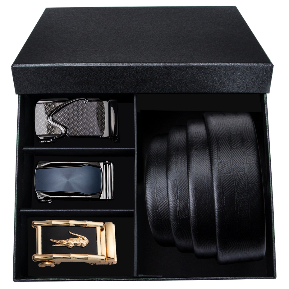 Solid Automatic Click Buckles Mens Belts Black Leather Trousers Belt Formal Gift