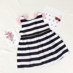 Image 3 - Baby Girls Dress Summer Stripe Dress Baby Dressing for Party Holiday Black and White with Bow Kids Clothes Cute Princess Fashion