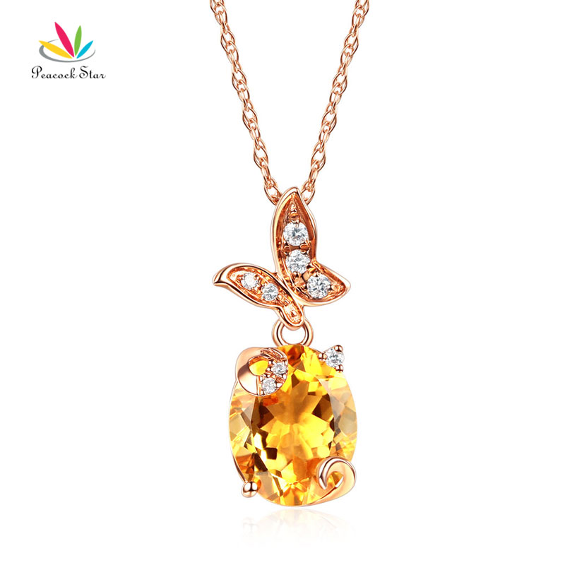 14K Rose Gold 2 Ct Yellow Citrine Butterfly Pendant Necklace 0.17 Ct Diamond