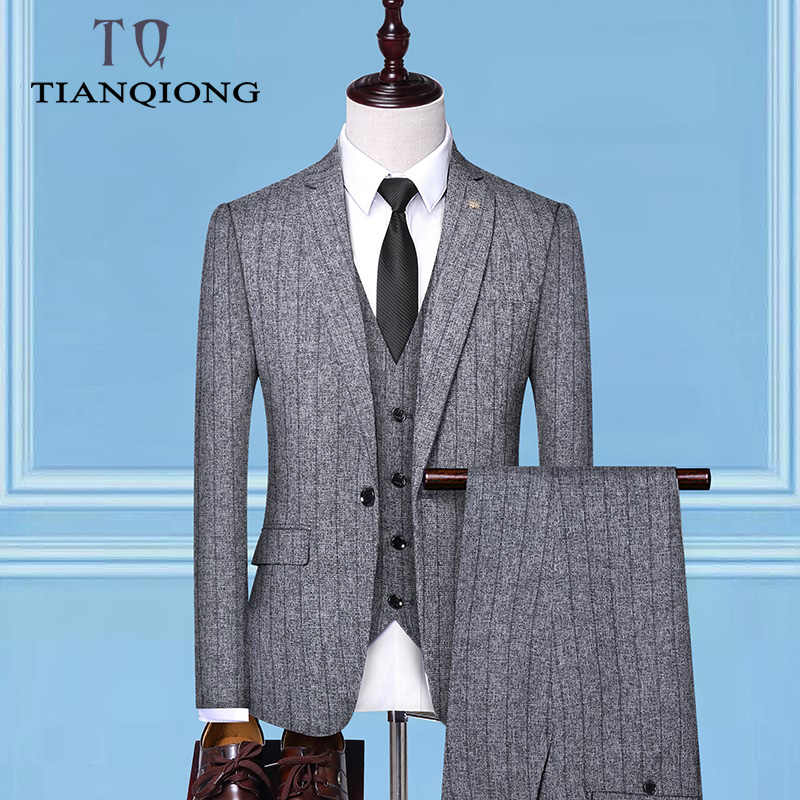Men's Suit 2019 New Fashion Groom Wedding Dress High-end Party Business Striped Slim Suit 3 Piece Set (coat+ Vest+ Pants)