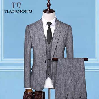 Men\'s Suit 2019 New Fashion Groom Wedding Dress High-end Party Business Striped Slim Suit 3 Piece Set (coat+ Vest+ Pants) - DISCOUNT ITEM  48 OFF Men\'s Clothing