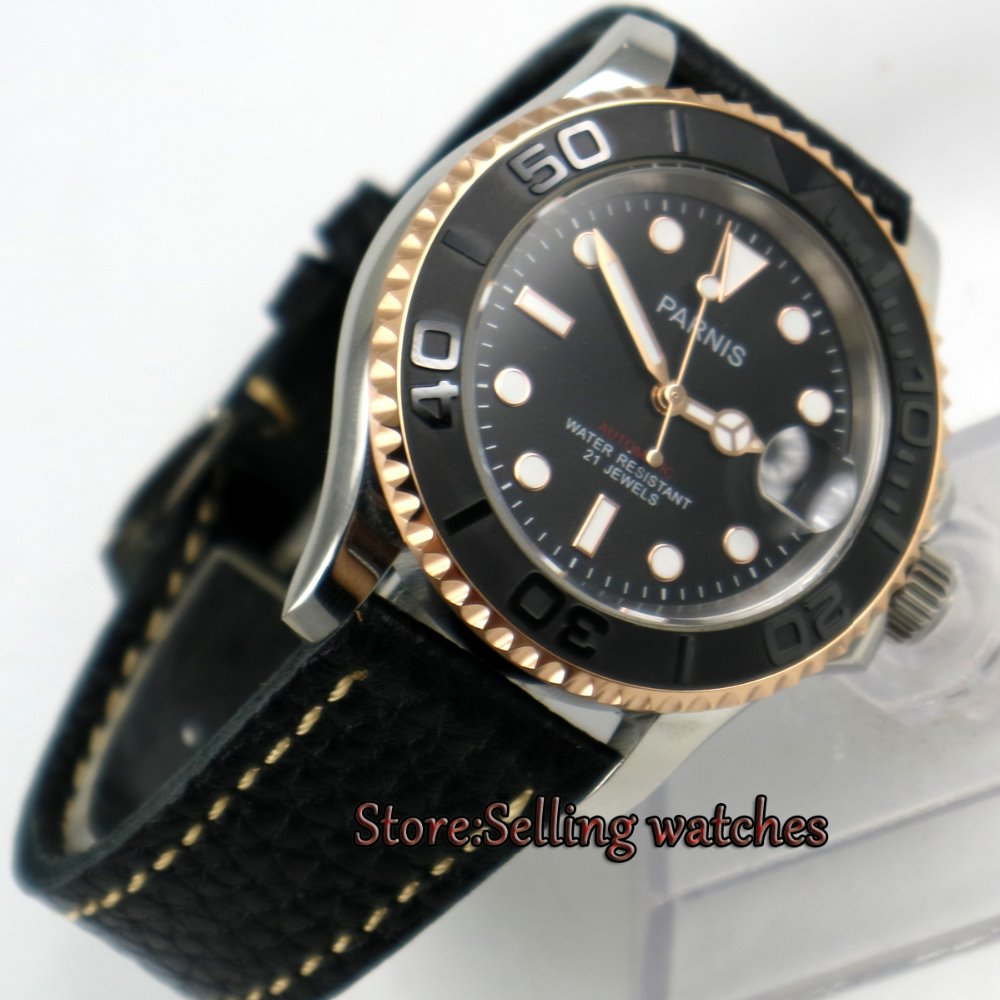 41mm Parnis siyah kadran Safir cam 21 jewels miyota 8215 otomatik mens watch41mm Parnis siyah kadran Safir cam 21 jewels miyota 8215 otomatik mens watch