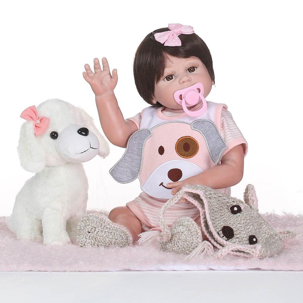 Bebes возрожденная менина NPK 20 50 см полный Силиконовый reborn baby dolls с щенком подарок для детей девочек может bathe oyuncak bebek boneca