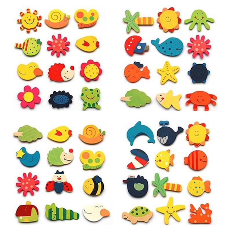 12 pcs / lot Colorful Kayu Hewan Kartun Kulkas Stiker Anak Mainan - Permainan dan teka-teki