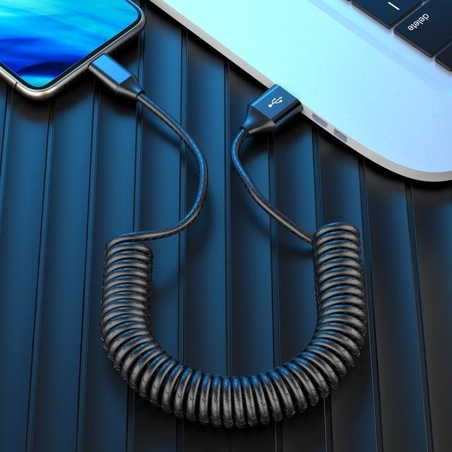 USB naar Type C Opladen Kabel voor Samsung Ondersteuning Max 3A 40 cm Spiraal Opgerolde Data Transfer Opladen Draad voor type c Mobiele Telefoons