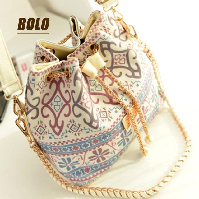 2016 Hot new fashion bucket bag retro print handbags PU leather Mature big bag of high-quality shoulder diagonal handbags