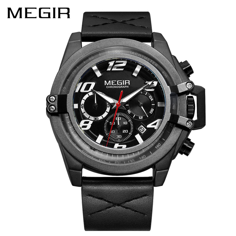 MEGIR Luxury Brand Sport Watch Men Fashion Chronograph Quartz Military Army Watches Clcok Men Relogio Masculino Wrist Watch 2052 reef tiger brand men s luxury swiss sport watches silicone quartz super grand chronograph super bright watch relogio masculino
