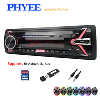 Removable Car Radio 1 Din Autoradio Bluetooth USB SD A2DP MP3 Stereo Audio Systems Head Unit 7 Colors Lighting PHYEE 4785BT