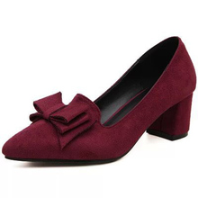 2016 new high-heeled shoes suede spring bow shoes with pointed shallow mouth rough work shoe female  big size shoes 40-41