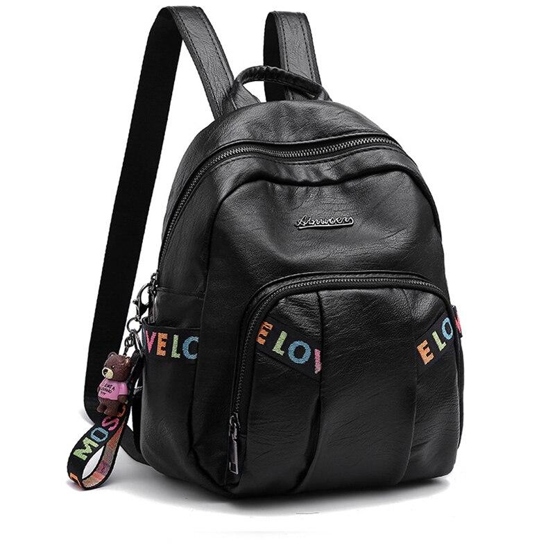 Femmes sac à dos en cuir sac à dos de voyage de luxe Designer femmes sacs casque Jack ours pendentif lettre décontracté célèbre marque