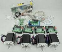 CNC Router Kit 4 Axis,4pcs 1 axis TB6560 stepper motor driver+one interface board+ 4pcs Nema23 270 Oz in motor+ one power supply
