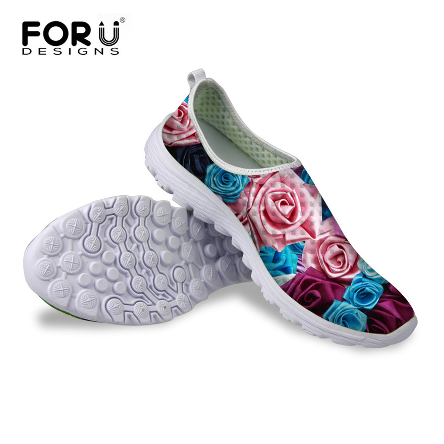 FORUDESIGNS Summer Popular Women Super Light Mesh Shoes, Flower Pattern Breathable Slip-on Flat Female Casual Beach Water Shoes